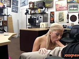 Busty blond shows off ass drilled at the pawnshop