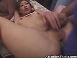 We have this Asian honey on this threesome clip as she gets it on with her guys. Watch as she i...