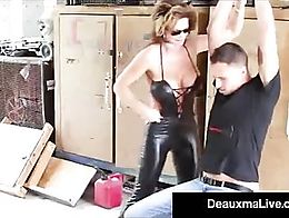 Cat Woman Cougar Deauxma wears A Hot Latex Skin Tight Outfit while Karate Super Girl Carey Rile...