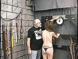 Master len canes and spanks a young brunette victim slave girl in dungeon 10