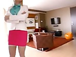 Blonde babe with classes welcomes hotel customer with a good fuck in blue satin blouse and pink...