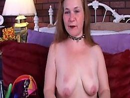 Kinky old spunker in sexy stockings strips has a nice little wank
