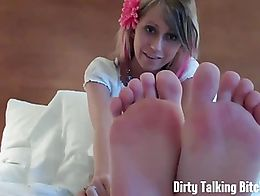 Pull your dick out and start jerking it to my size 5 and a half feet. I want you to admire them...