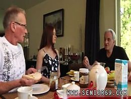 Teen old threesome old men fucking Minnie Manga eats breakfast with