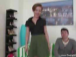Swinger wife with short hair fucks a total stranger here. Great cuckold sex with this amazing M...