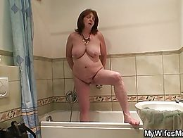 Big boobs mother in law forced into taboo cock riding