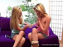 Two incredibly cute blonde amateur lesbian teens experiment and play with toys in their first h...