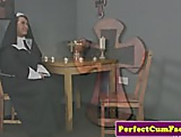 Celibate nun facialized after sinful blowjob with lucky guy