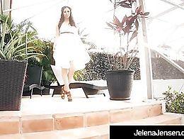 Brunette Amazon Jelena Jensen wears a beautiful sun dress outside but strips slowly & massa...