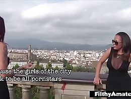 Girls in Florence believe to be real pornstars, but Giuly Di Maggio and Roberta Farnese know it...