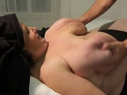 Young boy touches BBW woman's tits