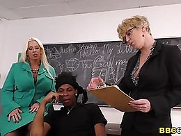 Big titted blonde MILF Alura Jenson and squirting slut Dee Williams fucks student's BBC in...