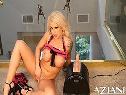 Beautiful blonde strips off her lingerie and rides the Sybian sex toy