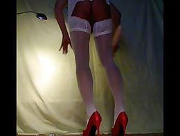 dildo full inside, seffist gaping, satin lingerlie, gloves, Nylon stockings, deep, bizarr, assp...