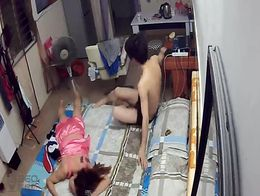 Hacked security cam at home records live sex chinese couple