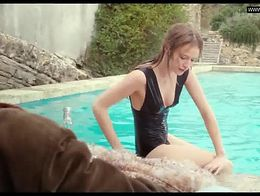 Christa Théret -  Topless in a swimming pool -