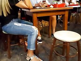 candid teen feet ,white pedicured long toes in sandals