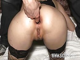 Extreme amateur girl brutally fisted and fucked with a huge wine bottle in her gaping ass