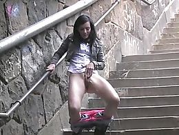 Public Pissing Peeing Fetish Outdoor Hardcore Watersports Kinky Babe POV Big Ass Big Tits Blond...