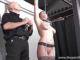 Teen slave Taylor Hearts nipple clamp punishment and pussy torments of beautiful submissive in ...