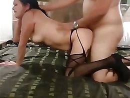 Lucky cucky hubby gets a blow while bull fucks wife