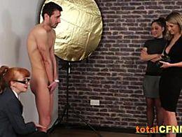 Bashful man seduced by horny chicks