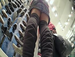Peeper managed to film this cute babe while shopping for new snickers and managed to catch her ...