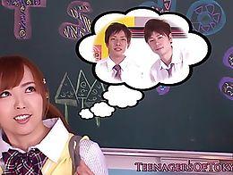 Japanese schoolgirl jerking in classroom gang for lucky guys