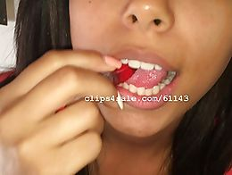 My friend Brandy eating gummy worms.