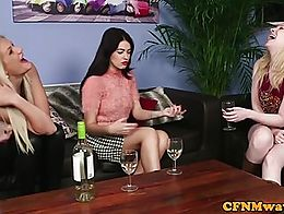 CFNM femdoms tugging their sub in group before cumshot
