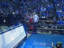 Caught some video of this chick moving cables at a basketball game.