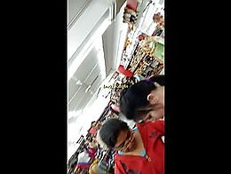 Two friends go around shopping in the mall displaying their big awesome cleavage whenever they ...