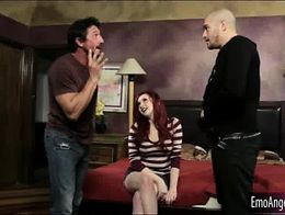 Punk girl double fucked by two nasty men