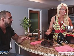 Big breasted blonde babe in pantyhose Alura Jenson fucking her horny neighbor