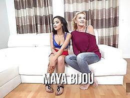 Hussie Auditions: Tiny Ebony Teen Maya Bijou Takes Two Dicks