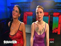 Blonde brunette babes Fucked glazed side by side - German Goo Girls