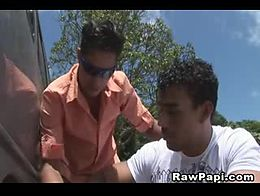 Watch these two latino men first helping on car changing wheels goes to horny hot sex homemade ...