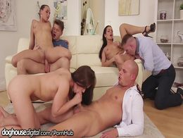 DogHouse Hot Euro Orgy with Anal Facials!