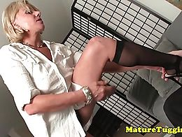 Busty milf stroking cock and grinds against hit with panties