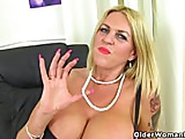 British milf Shannon Blue will pleasure you with her giant tits and always wet cunny.