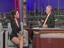 Lovely Eva chose a jacket and tight shorts for her appearance on Letterman and the camera angle...