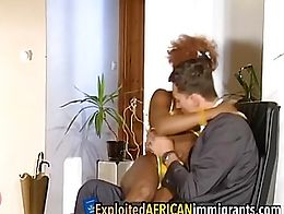 Curly-haired African babe knows how to have fun with a white stud. She enjoys getting his long ...