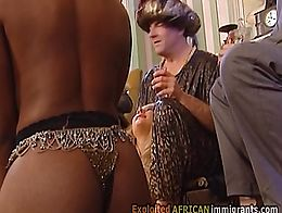 Sexy brunette bitch and amazing ebony slut are sucking this fat cock like pros and then getting...