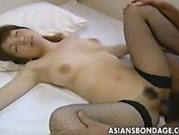 Tender japanese cutie moans while her hairy muff is drilled 5