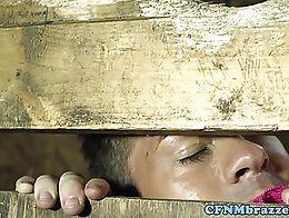 CFNM femdom babes FFM trio fucking in a barn with voyeur guy