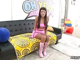 Wearing a tight pink dress and fetish boots, mixed-race cutie Verta is ready for a thorough ana...
