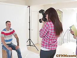 CFNM femdom photographer ass fucks in trio until facial over spex