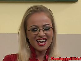 Spex babe dominated by her teacher in the classroom