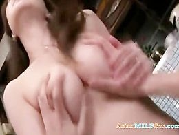 MILF Getting Her Hairy Pussy Licked Fucked By Young Guy In The Kitchen