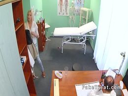 Busty beautiful blonde bangs doctor in toilet